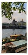 Seine Barges In Paris In Spring Bath Towel