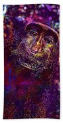 Selfie Monkey Self Portrait  Bath Towel