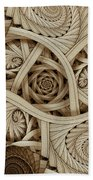 Sepia Swirls Fractal Art Bath Towel
