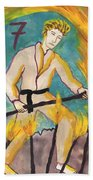 Seven Of Wands Illustrated Hand Towel