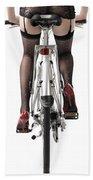 Sexy Woman Riding A Bike Hand Towel