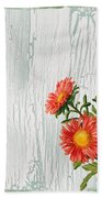 Shabby Chic Wildflowers On Wood Bath Towel
