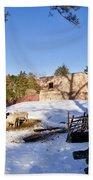 Sheep Farm In Winter Bath Towel