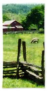 Sheep Grazing In Pasture Bath Towel