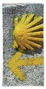 Shell And Arrow Marker, El Camino, Spain Bath Towel
