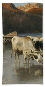 Shepherd With Cows On The Lake Shore Bath Towel