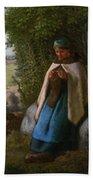 Shepherdess Seated On A Rock Bath Towel