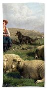 Shepherdess With Sheep In A Landscape Bath Towel