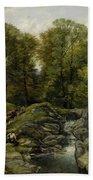 Shepherds Next To A Brook By Thomas Creswick Bath Towel