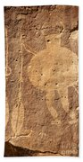 Shield Figure With Weapons Petroglyph Bath Towel