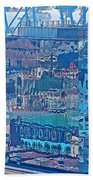 Shipping Containers And Building Windows Reflecting Graffiti  Art Of Valparaiso-chile Bath Towel