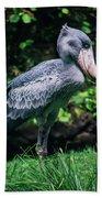 Shoebill Stork Side Portrait Bath Towel