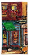 St Viateur Bagel Shop And Mehadrins Kosher Deli Best Original Montreal Jewish Landmark Painting  Bath Towel