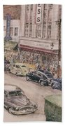 Shopping On Elm St. 1949 Bath Towel