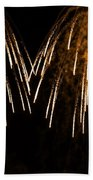 Shower Of Orange Colors Using Pyrotechnics Firework Bath Towel