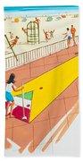 Retro Shuffleboard Art From The 1960's Bath Towel