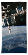 Shuttle Docked At Space Station Bath Towel