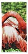 Shy Flamingo Bath Towel