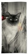 Siamese Cat In Black And White Bath Towel