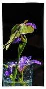 Siberian Iris And Luna Moth Bath Towel