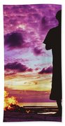 Silhouette Of A Local Man Standing By The Bonfire On The Beach In Maldives During Dramatic Sunset Bath Towel