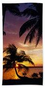 Silhouette Of Palm Tree On The Coast Bath Towel