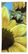 Silver Leaf Sunflower Growing To The Sun Bath Towel