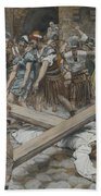 Simon The Cyrenian Compelled To Carry The Cross With Jesus Bath Towel