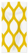 Simplified Latticework With Border In Mustard Bath Towel