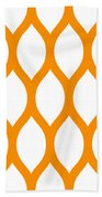 Simplified Latticework With Border In Tangerine Bath Towel