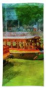 Singapore River Boats Bath Towel