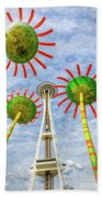 Singing Flowers Under The Space Needle Hand Towel