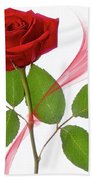 Single Red Rose Bath Towel