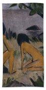Sitting And Kneeling Figures On The Bank Of The Moritzburg Lakes Bath Towel