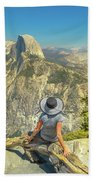 sitting at Glacier Point Bath Towel
