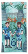 Six Of Cups Illustrated Hand Towel