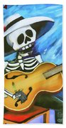 Skeleton Guitar Day Of The Dead  Bath Towel