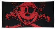 Skull And Bones Mickey In Red Bath Towel