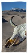 Skull At The Great Sand Dunes Bath Towel