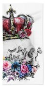 Skull Queen With Flowers Bath Towel