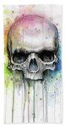 Skull Watercolor Rainbow Bath Towel