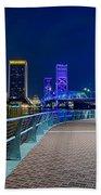 skyline and river coast scenes in Jacksonville Florida Bath Towel