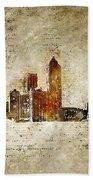 skyline of Atlanta in modern and abstract vintage-look Bath Towel