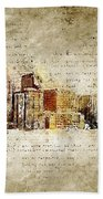 skyline of Denver in modern and abstract vintage-look Bath Towel