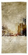 skyline of Detroit in modern and abstract vintage-look Bath Towel