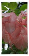 Small Orange Flower Pink Heart Leaves Bath Towel