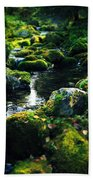 Small Stream In Green Forest Lapland Hand Towel