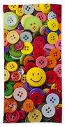 Smiley Face Button Bath Towel