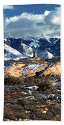 Snow Covered Utah Mountain Range Bath Towel