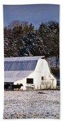 Snow Dusted Barn Bath Towel by Cricket Hackmann